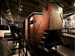 A railway car used to transport Jews to the concentration camps, at the Holocaust Memorial Museum
